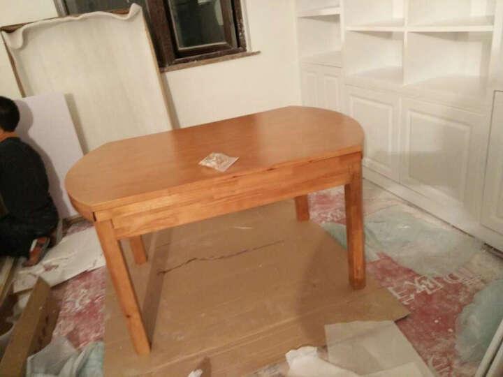 鲁菲特 实木餐桌 可伸缩折叠实木餐桌椅组合 餐桌餐椅套装 圆形饭桌子  lzc_630 1.38地中海色 一桌6椅(配912餐椅) 晒单图
