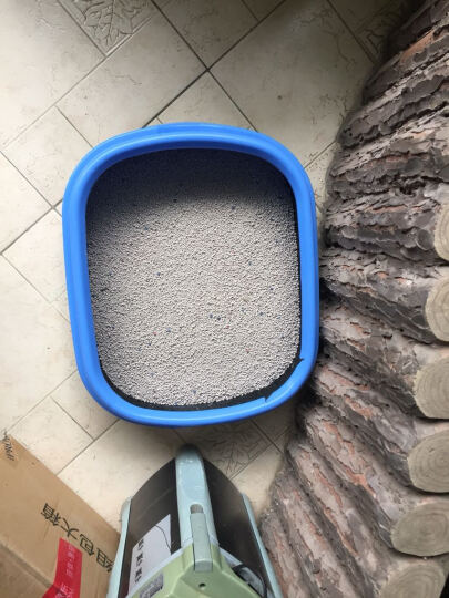 布袋熊 防外溅 糖果色猫砂盆 猫厕所 宠物厕所 带猫砂铲 猫便盆 猫沙盆 猫用品 猫尿盆 蓝色黑底大号 晒单图