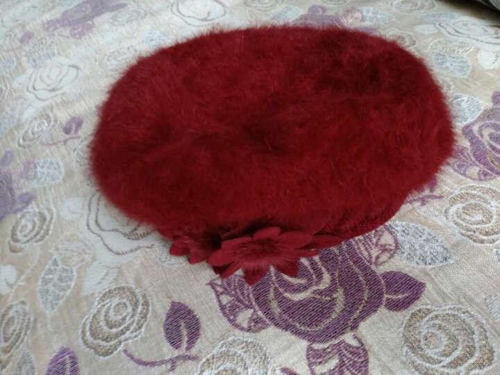 XINBUCKS毛线帽子女冬天护耳双花兔毛帽贝雷帽保暖加厚针织套头帽双层包头产妇月子帽 酒红色 晒单图