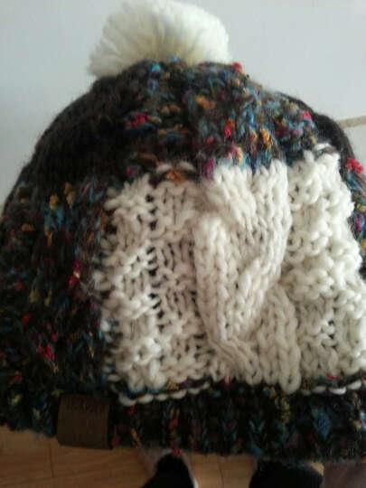 LACKPARD冬季帽子女士针织帽韩版潮帽毛线帽绒线帽加厚保暖护耳帽滑雪套头球球帽子 白色 均码 晒单图