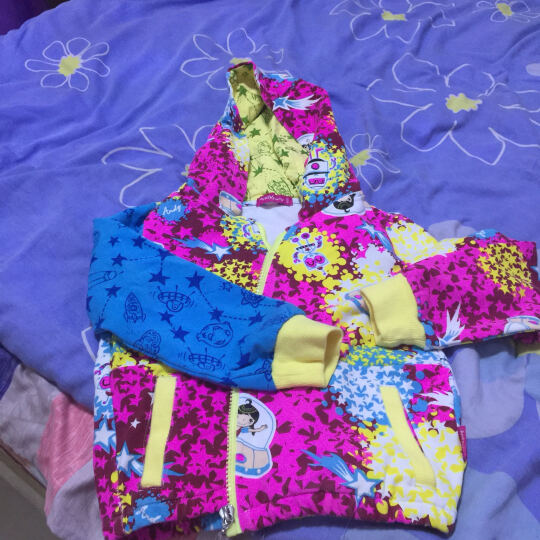 安迪派对2016秋季新款女童长袖外套大童休闲V领有帽印花拉链上衣 紫色 150cm 晒单图
