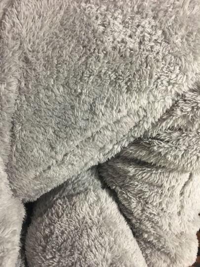 内美尔 韩版珊瑚绒羊羔绒家居服 睡衣女冬季加厚加绒保暖套装 可爱公主连帽大耳朵 灰色 均码 晒单图