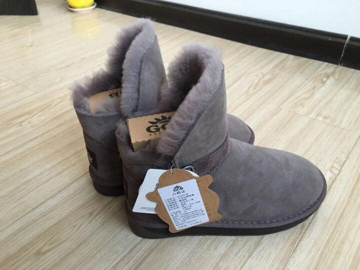 GCB雪地靴皮毛一体女鞋冬季短筒羊毛保暖加厚翻毛皮带扣 6581 蘑菇色 37 晒单图