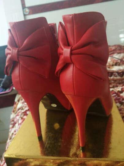 莱卡金顿高跟鞋2018年春季新款圆头纯色女靴子侧拉链细跟女鞋防水台女鞋子 GK61H73红色 37 晒单图