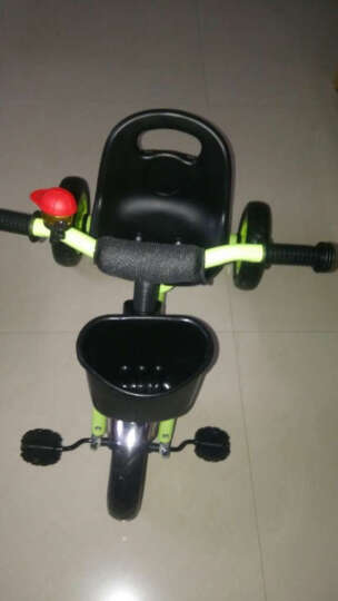 艾梦琪(AIMENGQI) 儿童三轮车 宝宝手推车 小孩脚踏车 带护栏加安全带四合一三轮车 红色充气轮 晒单图