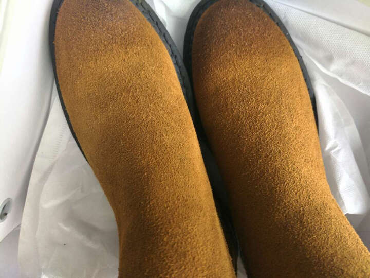 驰轩欧美风秋冬新款短靴女真皮平底短筒切尔西休闲加绒踝靴子单靴潮 沙色加绒 39 晒单图