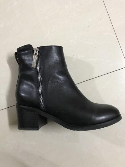 PTSON/百田森 切尔西靴冬季新款方跟高跟短筒时尚百搭牛皮短靴女 棕色 36 晒单图