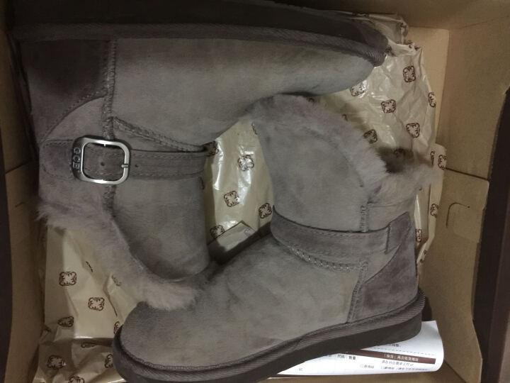 GCB雪地靴皮毛一体女鞋冬季短筒羊毛保暖加厚翻毛皮带扣 6581 蘑菇色 36 晒单图