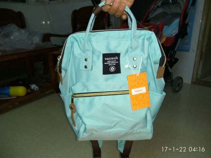 vanwalk 时尚妈咪包双肩背包女新款韩版学院风简约中学生书包女包手提包背包潮v1137 灰色 晒单图