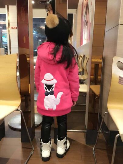 丝丝百合 童装女童秋冬装2017新款儿童卫衣外套加厚加绒大童中长款冬季上衣 黄色 120 晒单图