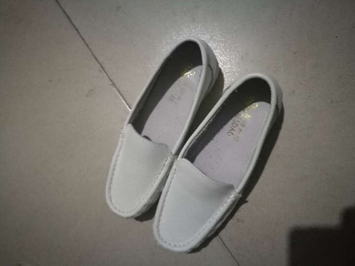 圣诗丹特头层牛皮护士鞋白色牛筋底真皮单鞋坡跟时尚妈妈鞋舒适女鞋0015 白色 37 晒单图