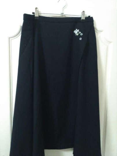 Amii[极简主义] 女冬新纯色绣花叠襟不规则裙摆半身裙11683322 墨绿 L 晒单图