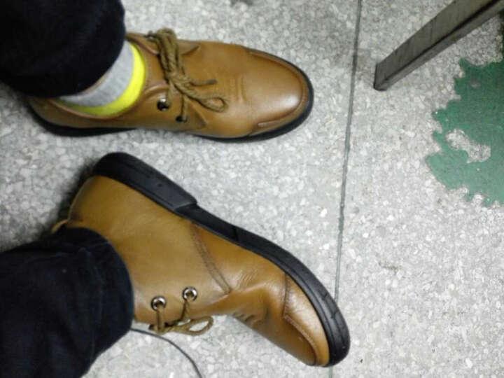 【TBLS/汤铂莱斯】商务皮鞋男土头层牛皮系带尖头正装休闲软面皮男鞋 棕色 44 晒单图