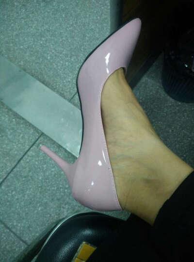 歌山品悦    春季新款高跟鞋时尚尖头细跟性感单鞋女中跟工作鞋 黑色 37 晒单图