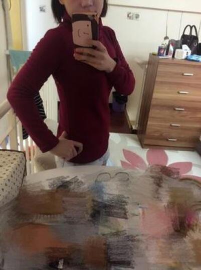 枫凰族 T恤女2017春季高领卫衣打底衫女秋修身长袖T恤女花边袖条纹大码女装上衣F1813 红条. L 晒单图