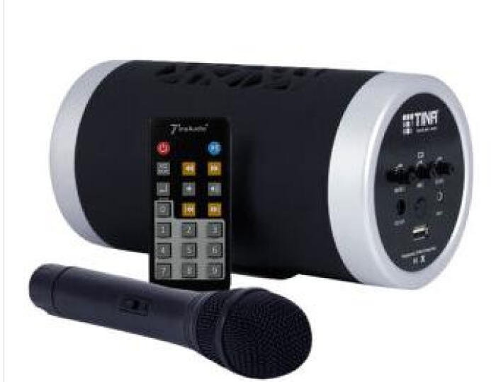 212 便携式U盘音箱带无线手持麦克风话筒K歌教学会议培训演讲扩音器 黑色 晒单图