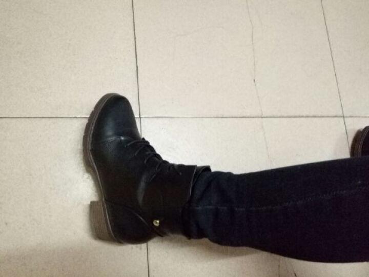 口口坊粗跟马丁靴英伦女短靴秋冬女靴圆头低筒靴2016新款办公室工作鞋靴系鞋带裸靴 茶色ML70061 36 晒单图