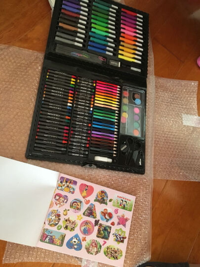 【150件套送画册】儿童画笔套装蜡笔礼盒铝盒画画工具画板水彩笔小学生礼物 绘画套盒150件套 39*30*4cm 晒单图