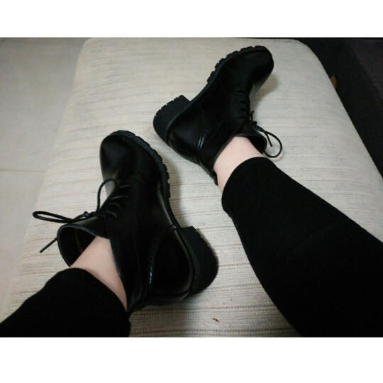 Josiny/卓诗尼2016冬季新款中跟短靴女粗跟系带加绒马丁靴女靴子商场同款 棕色 37 晒单图
