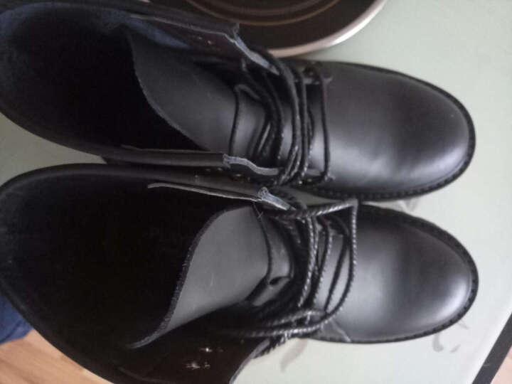 花花公子 秋冬保暖男靴马丁靴时尚男款靴中筒靴高帮皮鞋男士加绒复古潮雪地靴子 黑色不加绒 43 晒单图