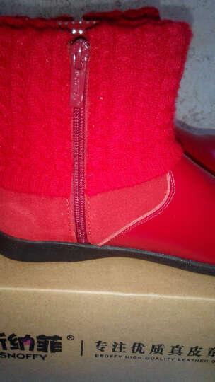 斯纳菲(Snoffy) 童鞋 女童靴子冬季加绒真皮短靴中大童保暖牛皮女孩加绒儿童雪地靴韩版 红色(大棉) 28码/内长17cm 晒单图