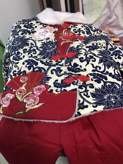 女童唐装冬装儿童唐装女宝宝加绒棉服套装 中国风礼服青花瓷 蓝色 XL 70-80cm 晒单图