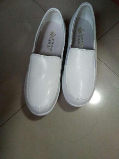 圣诗丹特真皮护士鞋白色气垫单鞋 冬季舒适女鞋透气轻便软底工作鞋 中跟学院鞋 白色5757 35 晒单图