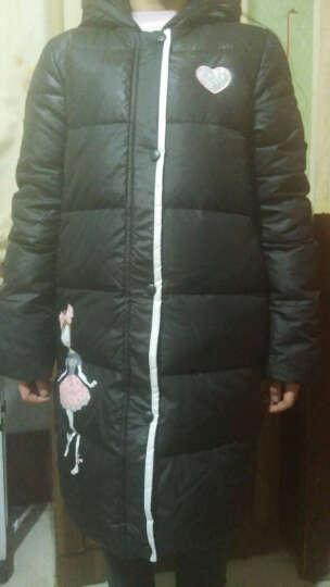笛莎deesha女童儿童羽绒服上衣品牌童装中长款百搭保暖羽绒服914 黑色 160 晒单图
