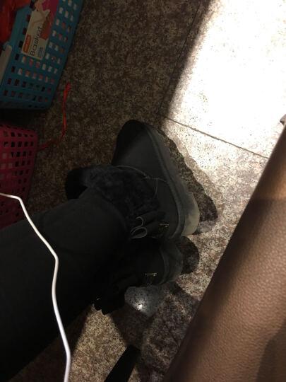珂曼朵2018冬季新款兔毛雪地靴时尚经典棉靴平底保暖皮毛一体女靴短筒棉鞋加厚中筒休闲靴子 黑色 39 晒单图