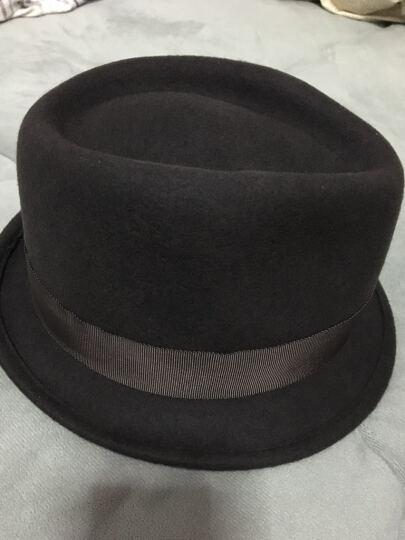 颢莱雅秋冬天羊毛帽爵士帽礼帽男通用型帽子男士毡帽英伦牛仔帽 巧克力色 57cm 晒单图