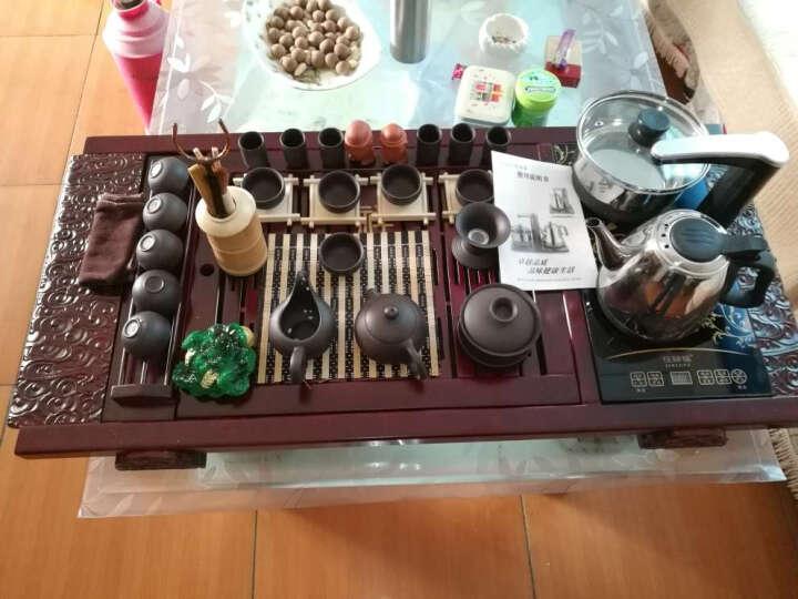 喜度(HIDEG-DAILY) 茶具紫砂陶瓷茶具套装乌金石茶盘全自动电热磁炉整套茶台茶海 19红大祥云+黑紫砂 晒单图