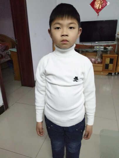 易福星男女童毛衣打底衫婴儿宝宝羊毛线衫秋冬儿童圆领套头毛衣 加绒黑色 120码身高110-120cm 晒单图