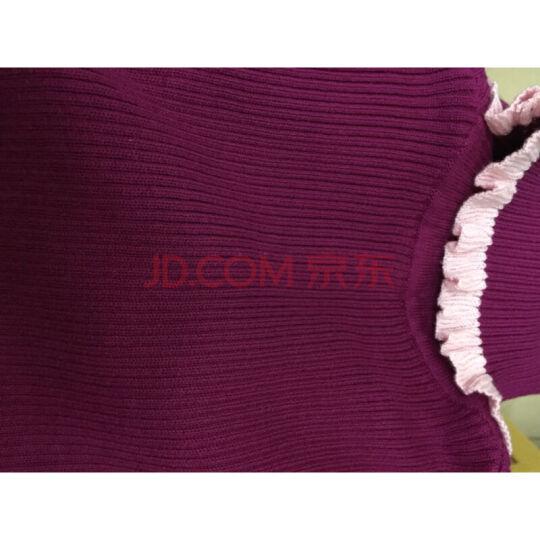 【品质毛衣】咪咪熊品牌童装女童毛衣秋冬新款儿童毛衫套头打底针织衫 高领粉紫21 140cm 晒单图