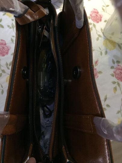意大利L'ALPINA袋鼠 女包 韩版牛皮 单肩包 女2018新款双空间真皮女士欧美款 黑色 晒单图
