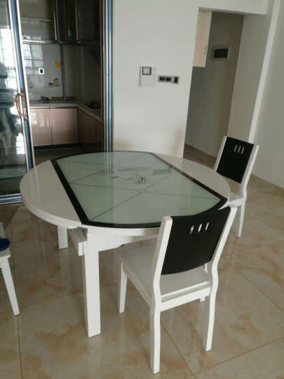 极美世家 钢化玻璃餐桌 伸缩实木餐桌椅 客厅电磁炉火锅餐桌椅组合 全白玻电磁炉餐桌 一桌六椅(黑白实木椅) 晒单图