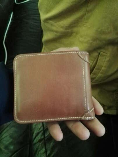 巴适(RDBS)男士钱包真皮超薄复古小钱包牛皮钱夹 横款竖款短款钞票夹皮夹 1006 浅棕色横款 晒单图