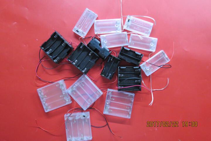 千水星 背靠背4节5号电池盒 6V串联电池盒 AA 5号电源盒带线折叠双层 DIY玩具配件 黑色 晒单图