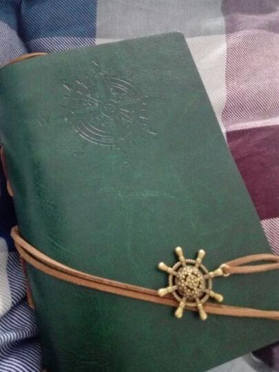 航海日记本子  创意个性复古牛皮纸皮革记事本厚本子  潮流精美旅行笔记本子盒装手账本 墨绿色 晒单图