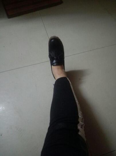 卡罗缇女鞋单鞋女子新款2017秋冬新款百搭韩版高跟鞋粗跟单鞋深口防水台布洛克女休闲鞋子 黑色 36 晒单图