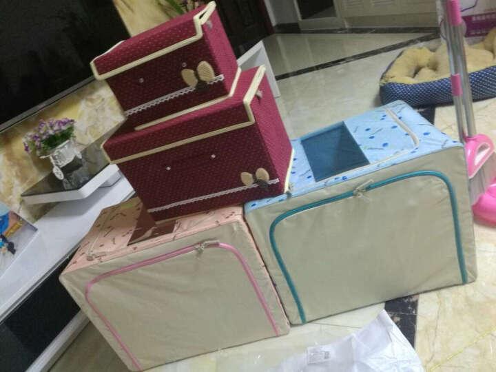 【4件8.5折】喜家家 牛津布收纳箱大号钢架衣物衣服棉被整理箱收纳盒储物箱 粉色樱桃66L 晒单图