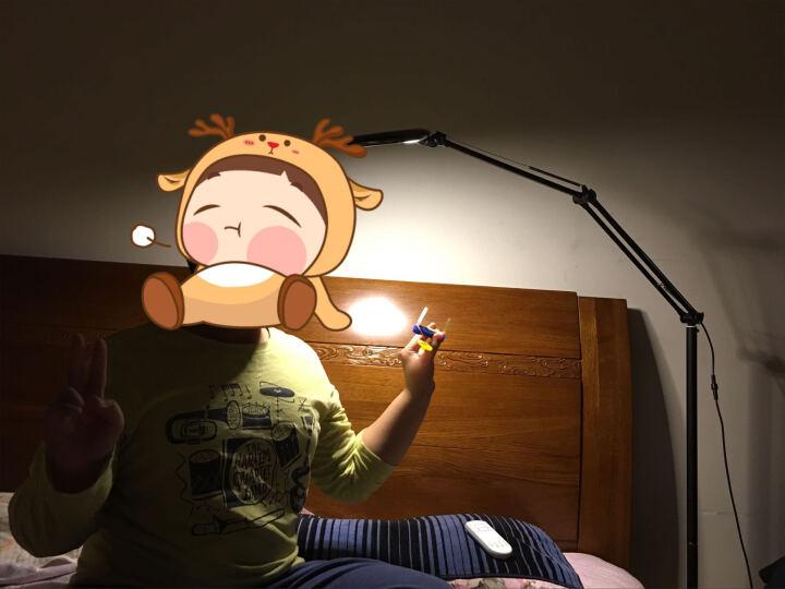 煜尚 LED阅读护眼落地灯 遥控调光 学生书桌学习钢琴灯 客厅卧室床头书房 可调节立式落地台灯 翡翠版银色(脚踏分段三色变光) 晒单图