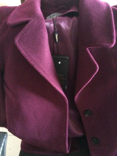 中老年女装秋冬装2019新款毛呢外套上衣50-60岁奶奶妈妈装修身羊毛半大衣 茄紫 L 晒单图
