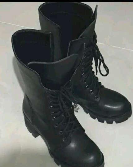 华洛威秋冬新款女靴中跟短靴女时尚粗跟马丁靴防水台中筒系带机车女靴子 黑色加棉(十字架) 38 晒单图