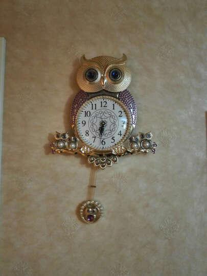 英伦欧堡 韩式猫头鹰挂钟 欧式家居饰品创意钟表客厅墙面装饰挂件 金色/J-PC031J 晒单图