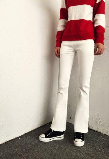 缺货 ONEBUYE晚白 OL通勤大码喇叭裤休闲九分白裤子女 白色 XL 晒单图