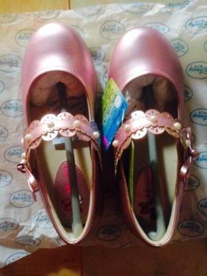 迪士尼女童小皮鞋儿童公主鞋大童豆豆鞋高跟单鞋小女孩水晶学生鞋子舒适 银色-贝贝公主 33码 晒单图
