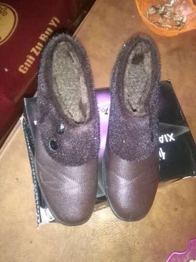 234冬季保暖棉鞋中老年女式棉鞋老人棉皮鞋 黑色 38 晒单图