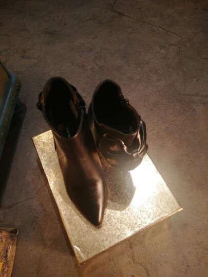 莱卡金顿高跟鞋女2017秋季新款时尚细跟尖头高跟单鞋丁侧拉链水钻女鞋 GQ62Y96H黑色 38 晒单图