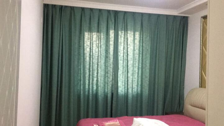 魔方 窗帘成品棉麻亚麻现代简约北欧风遮光布纱帘挂钩定制客厅布料*自然元素 自然元素-绿色布 1米定制价 晒单图