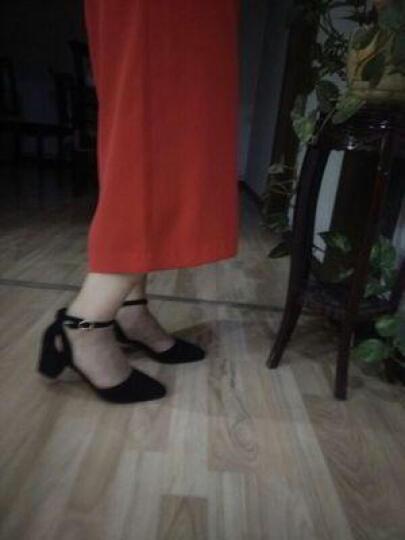 春夏新款四季单鞋女侧镂空粗跟女鞋磨砂羊皮高跟鞋一字扣大码女鞋40-41-42-43小码33 黑色 40 晒单图